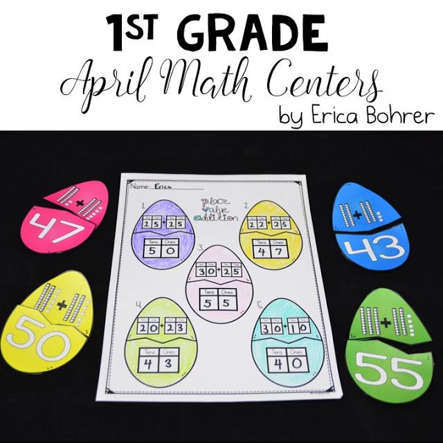 1st Grade April Math Centers
