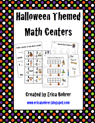 Halloween Themed Math Centers and Freebies